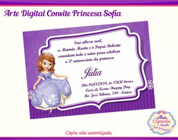 Convite Digital Princesa Sofia No Elo7
