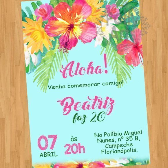 Convite Digital Virtual Aloha Luau Festa Havaiana