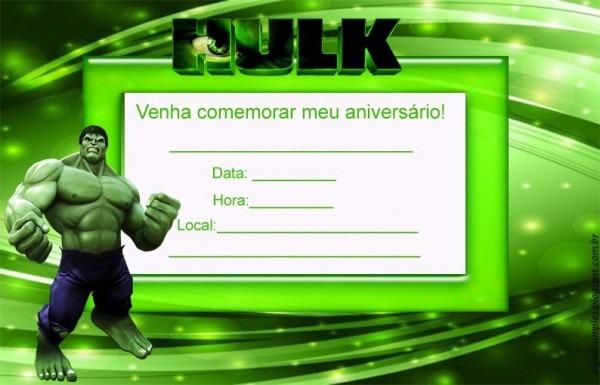 Convite Do Hulk Convite De Aniversario C 20
