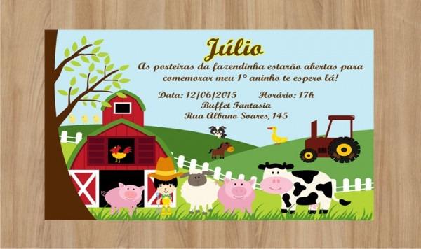 Convite Fazendinha 10x7cm No Elo7