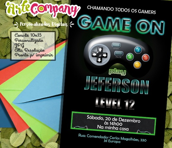 Convite Festa Aniversário Vídeo Game No Elo7