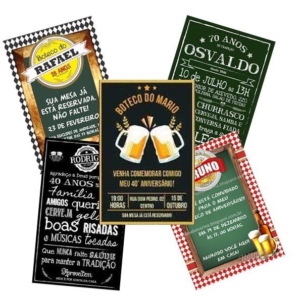 Convite Festa Boteco Bar Cerveja Melhor Preço Envio Rápido