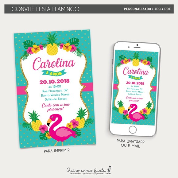 Convite Flamingo
