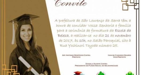 Convite – Formatura Da Escola De Beleza – Prefeitura De São