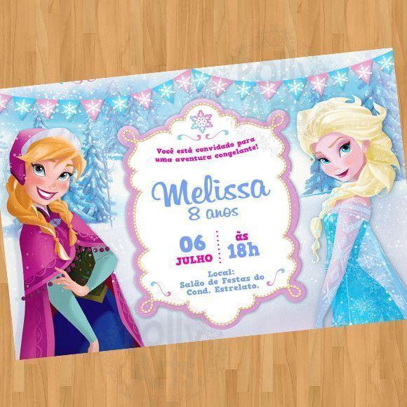 Convite Frozen Arte Digital Virtual
