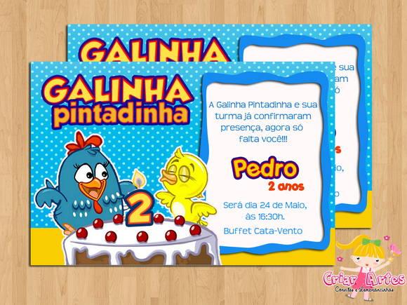 Convite Galinha Pintadinha Mod 1 No Elo7