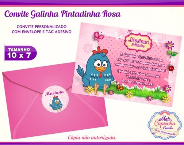Convite Galinha Pintadinha Rosa No Elo7
