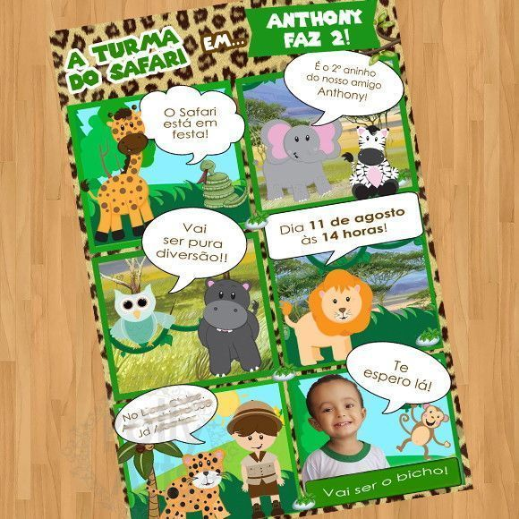 Convite Gibi Safari Animais Floresta Arte Digital Virtual