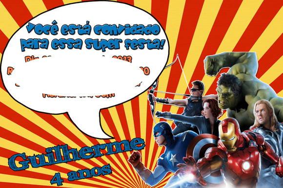 Convite Heróis Marvel No Elo7