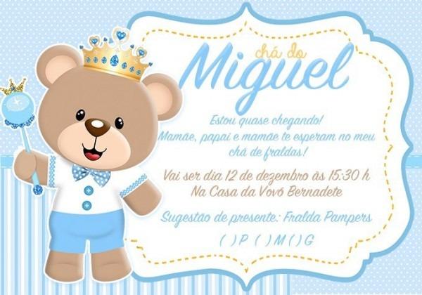 Convite Impresso Chá De Bebê Urso Príncipe Ii No Elo7