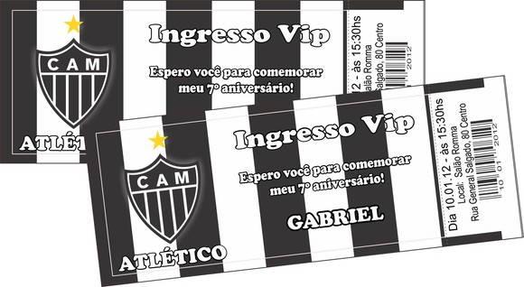 Convite Ingresso Atlético No Elo7