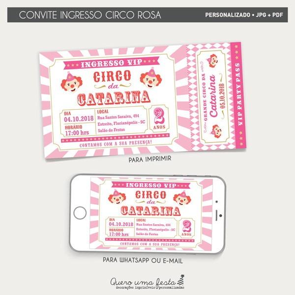 Convite Ingresso Circo Rosa