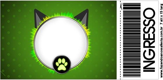 Convite Ingresso Miraculous Cat Noir