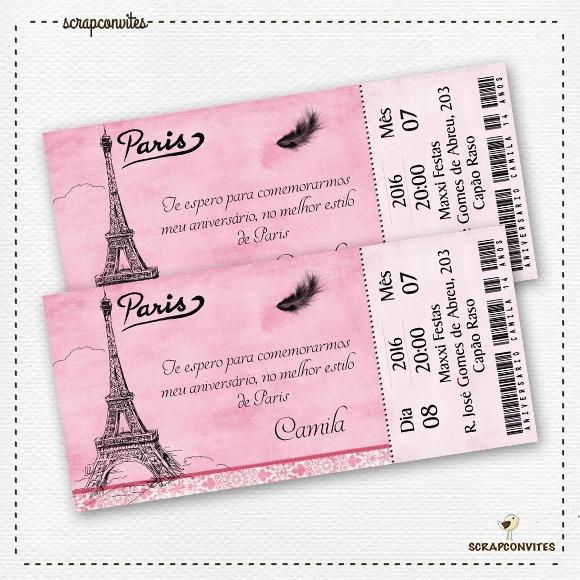 Convite Tema Paris No Elo7
