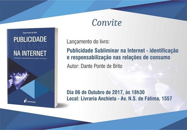 """Convite  Lançamento Do Livro """"publicidade Subliminar Na Internet"""