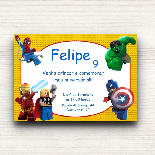Convite Lego Marvel No Elo7