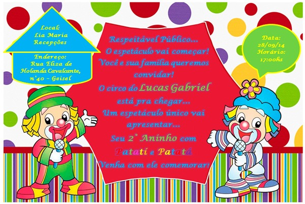 Convite Festa Patati Patata Do Lucas Gabriel