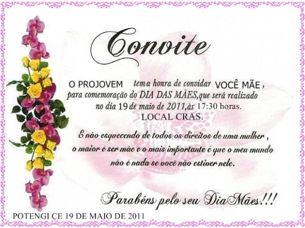 Convite As Mães De Alunos Do Projovem
