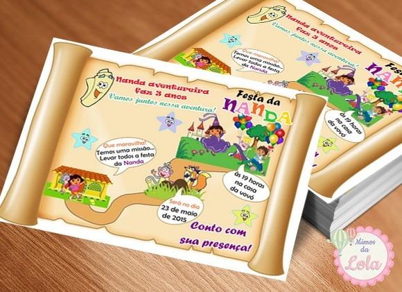 Convite Mapa Dora Aventureira No Elo7