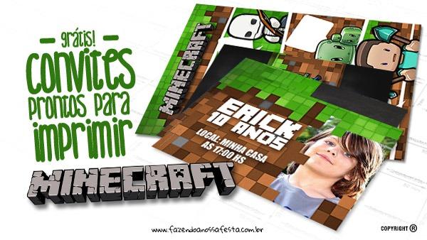 Convite Minecraft Totalmente Grátis Para Imprimir Em Casa
