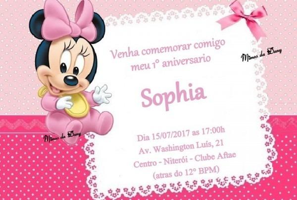 Convite Minnie Baby No Elo7