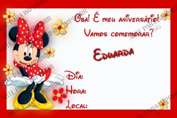 Convite Minnie Vermelha No Elo7