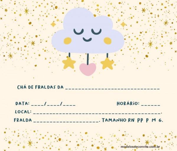 Convite Nuvem De Amor  25 Modelos Com Chuva De Corações! – Modelos