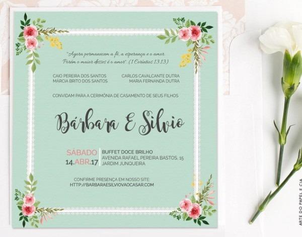 A12  Convite De Casamento Floral Verde Água No Elo7