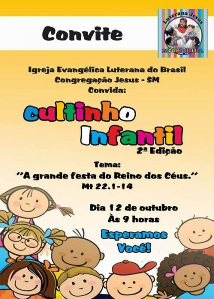 Convites Para Culto Infantil Cheios De Graça E Delicadeza