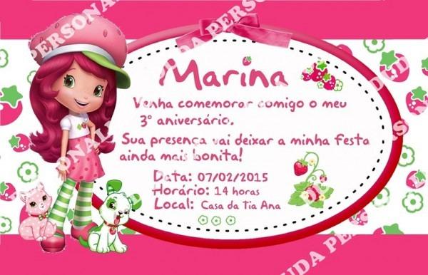 Convite Para Festa Infantil Moranguinho No Elo7