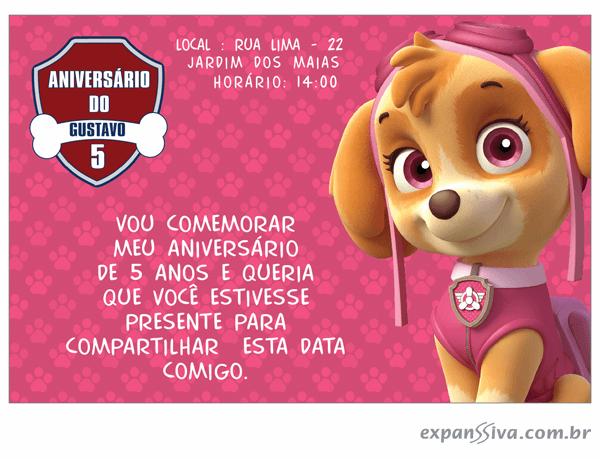 Convites Infantis Para Patrulha Canina M6936