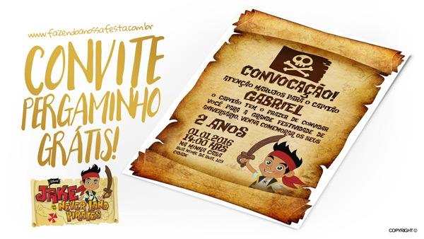 Convite Pergaminho Jake E Os Piratas Da Terra Do Nunca
