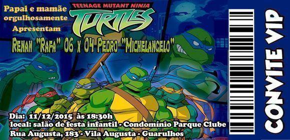 Convite Personalizado Tartaruga Ninja