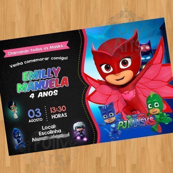 Convite Pj Masks Corujita Menina Arte Digital Virtual