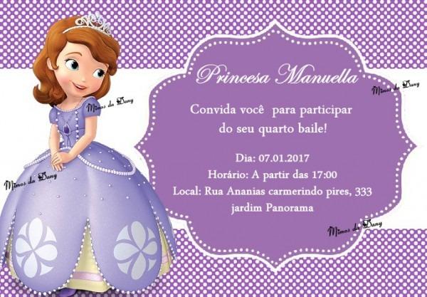 Convite Princesa Sofia No Elo7