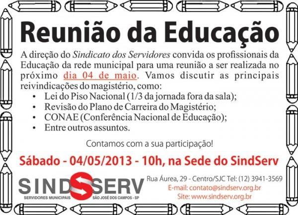 Convite  Reunião Da Educação