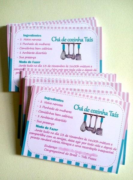 Convite Simples   Chá De Cozinha No Elo7