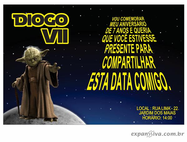 Convites Infantis Para Star Wars M6881