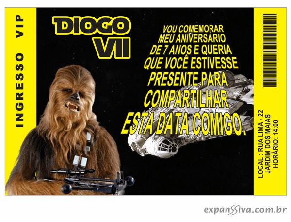 Convites Infantis Para Star Wars M6884