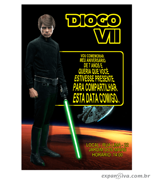 Convites Infantis Para Star Wars M6882