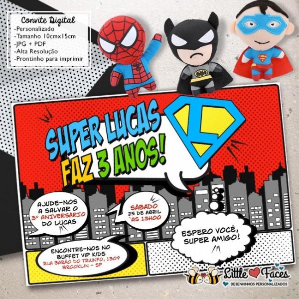 Convite Super Heróis Digital No Elo7