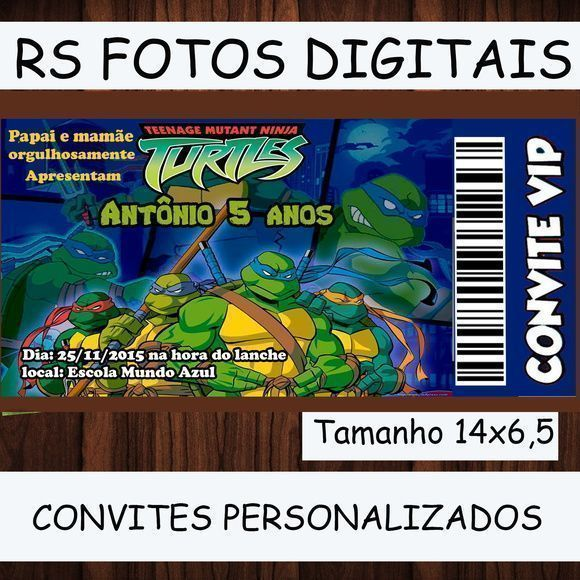 Convite Tartaruga Ninjas Personalizados