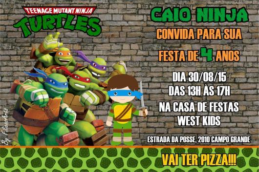 Convite Tartarugas Ninja  35 Modelos Lindos Para Uma Festa Incrível