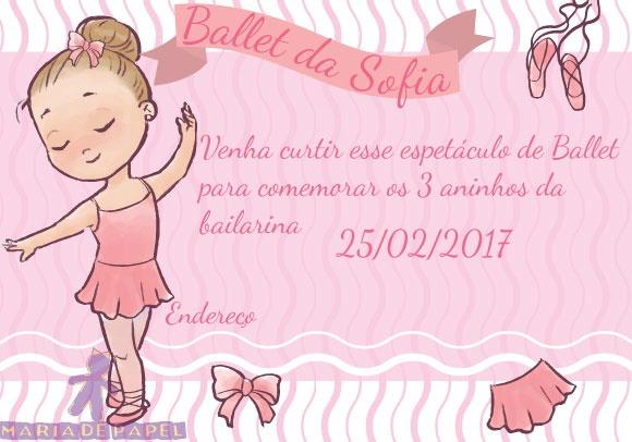Convite Tema Bailarina No Elo7