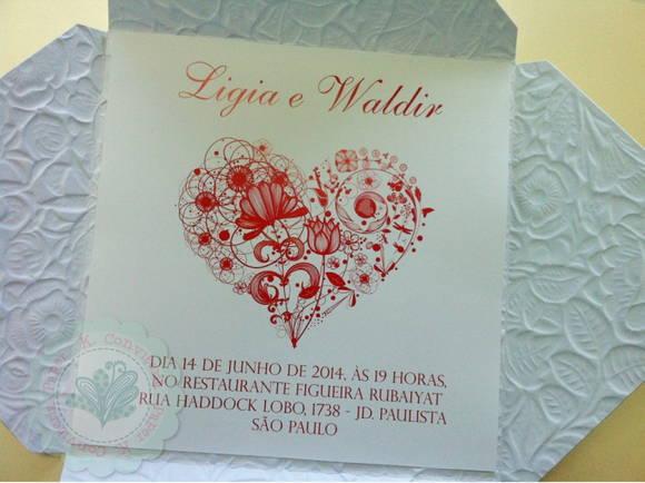 Convite Tulipa Papel Texturizado Floral No Elo7