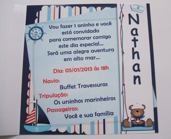 Convite Urso Marinheiro No Elo7
