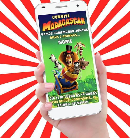 Convite Virtual Animado Madagascar 3 Os Procurados Circo