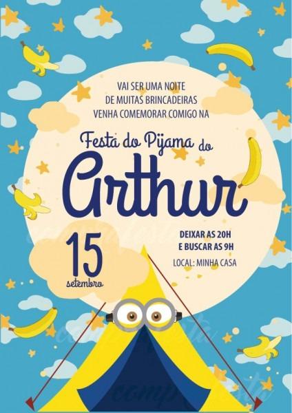 Convite Zap (virtual) Festa Do Pijama Minions No Elo7