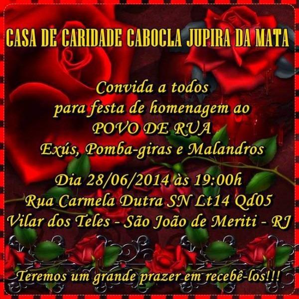 Casa De Caridade Cabocla Jupira Da Mata    Convite Para Festa Em