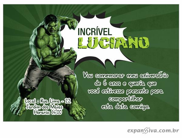 Convite Do Hulk  30 Ideias Para Você Se Inspirar!